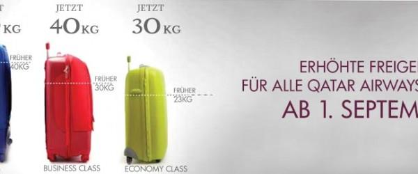 QATAR Airways Freigepäckgrenze wurde erhöht. Handgepäck optimal ausnützen.