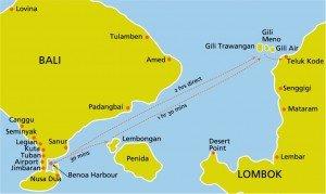 Lageplan der GIli Inseln zwischen Bali und Lombok