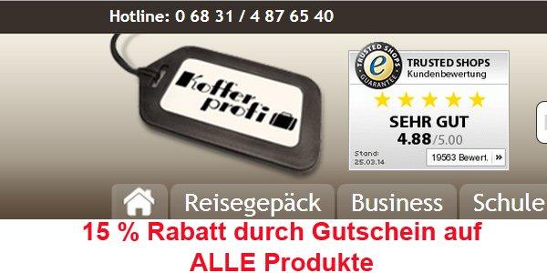 15% Rabatt auf Kofferprofi.de durch Gutschein. Gültig auf alle Produkte!